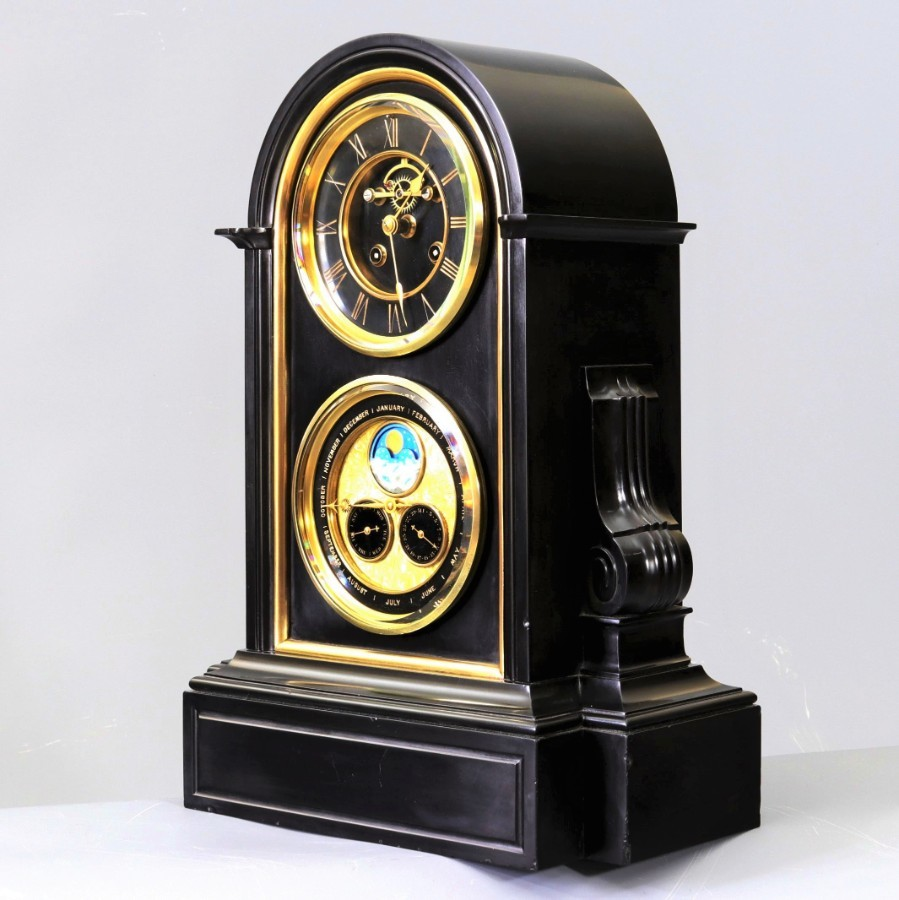 19th Century French Black Marble Perpetual Calendar Clock with Moon-Phase