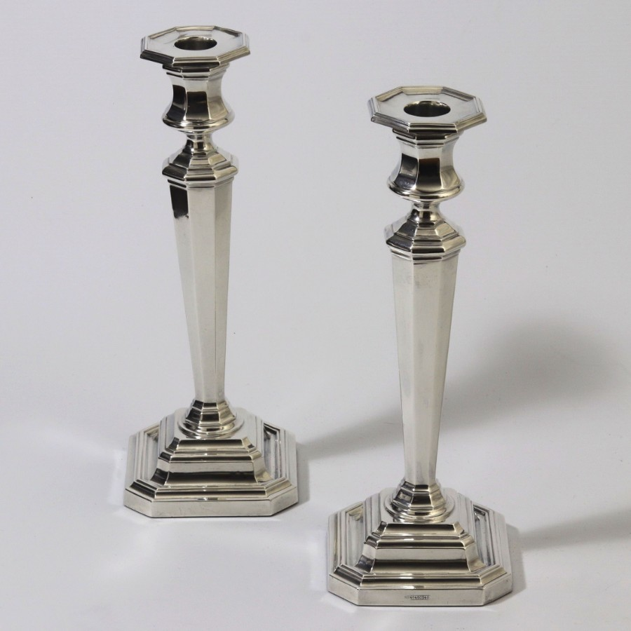 Antique Pair of Classical Style Silver Candlesticks by James Dixon & Sons Sheffield 1918