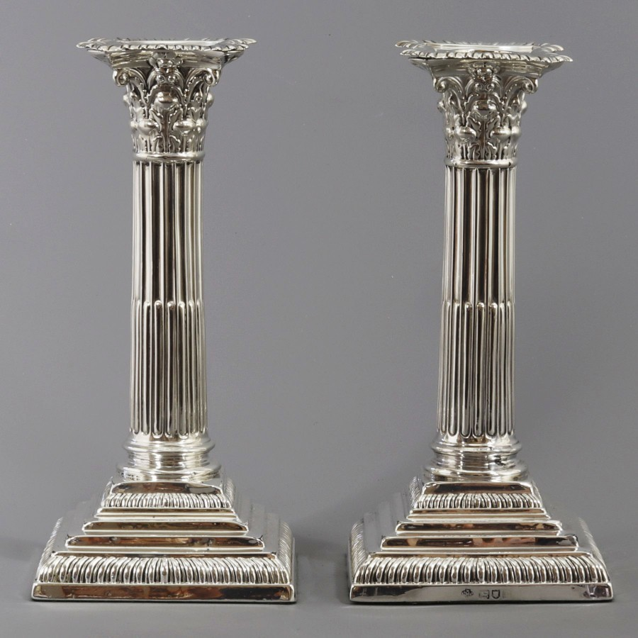 Pair of Classic Corinthian Column Silver Candlesticks by William Hutton 1912