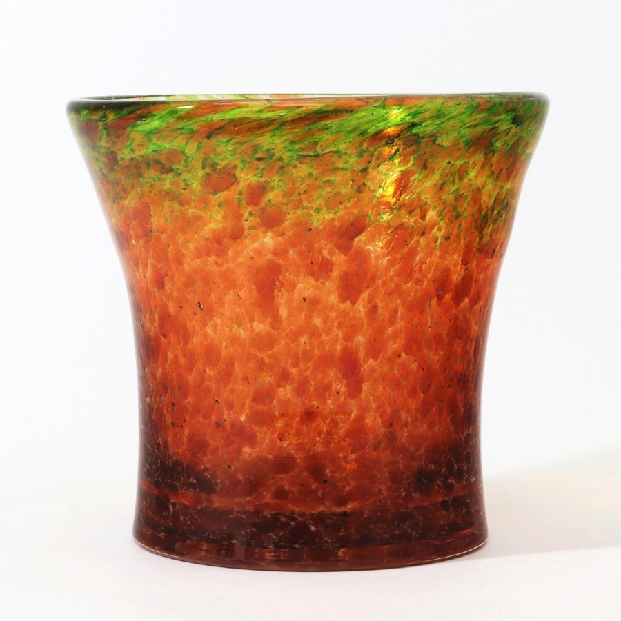 Monart Art Deco Tangerine & Lime Waisted Glass Vase With Aventurine c1935
