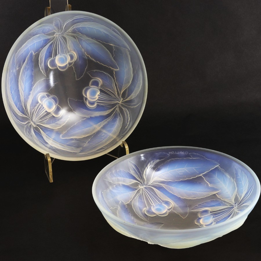 Pair of French Opalescent Glass Bowls Signed G Vallon c.1925
