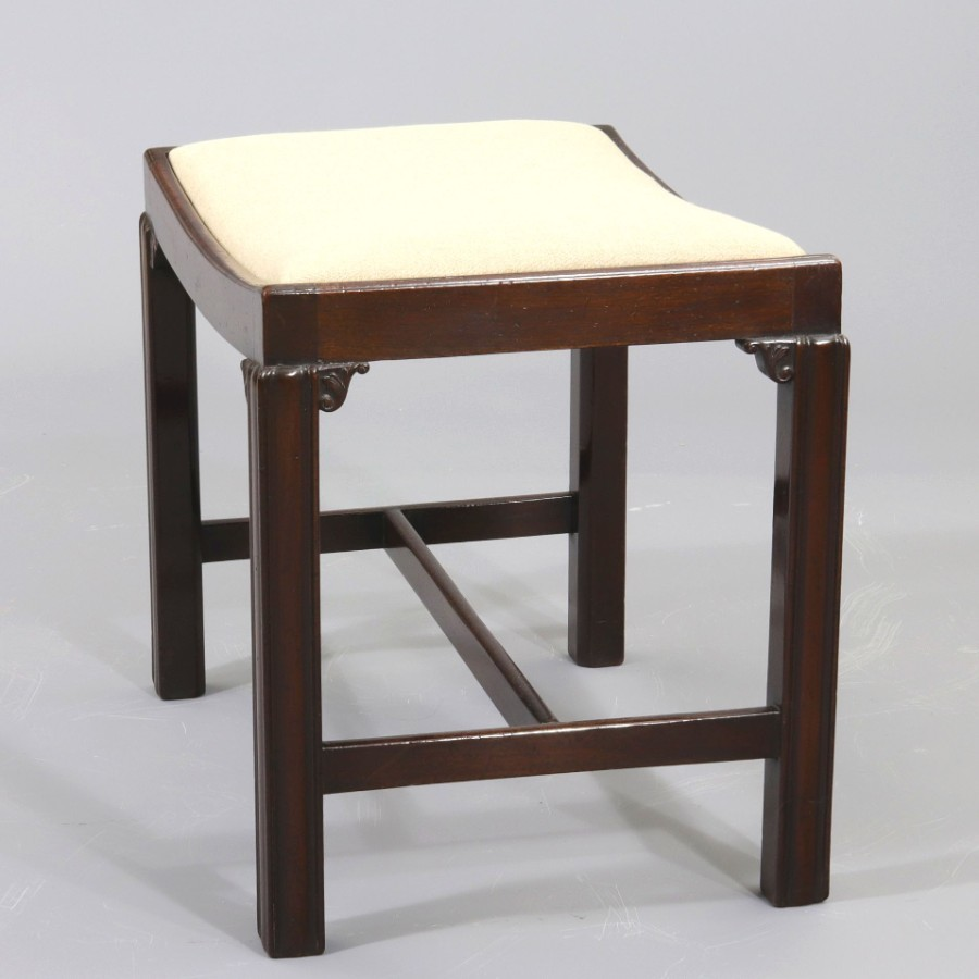 Antique Georgian Mahogany Stool in Chippendale Design c1780