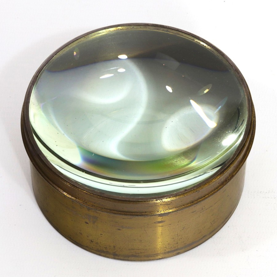Brass Desk Top Cylindrical Magnifier / Paperweight c1900