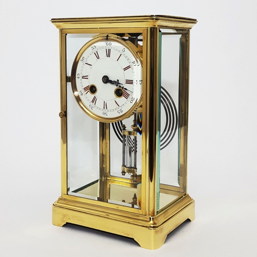 Brass Four Glass French Striking Mantle Clock c.1870