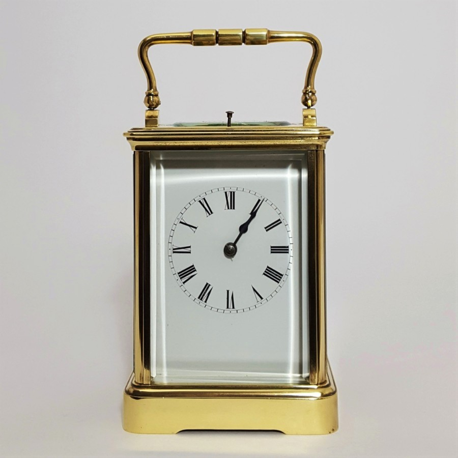Large French Brass Corniche Cased Striking Repeating Carriage Clock c1890