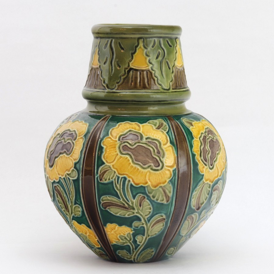 Burmantofts Faience Tubelined Art Nouveau Pottery Vase c1895
