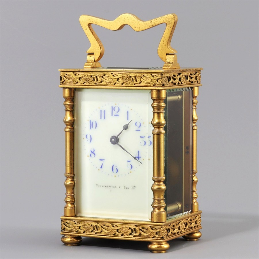 Gilt Carriage Clock by Duverdrey & Bloquel Signed Collingwood & Son c.1915