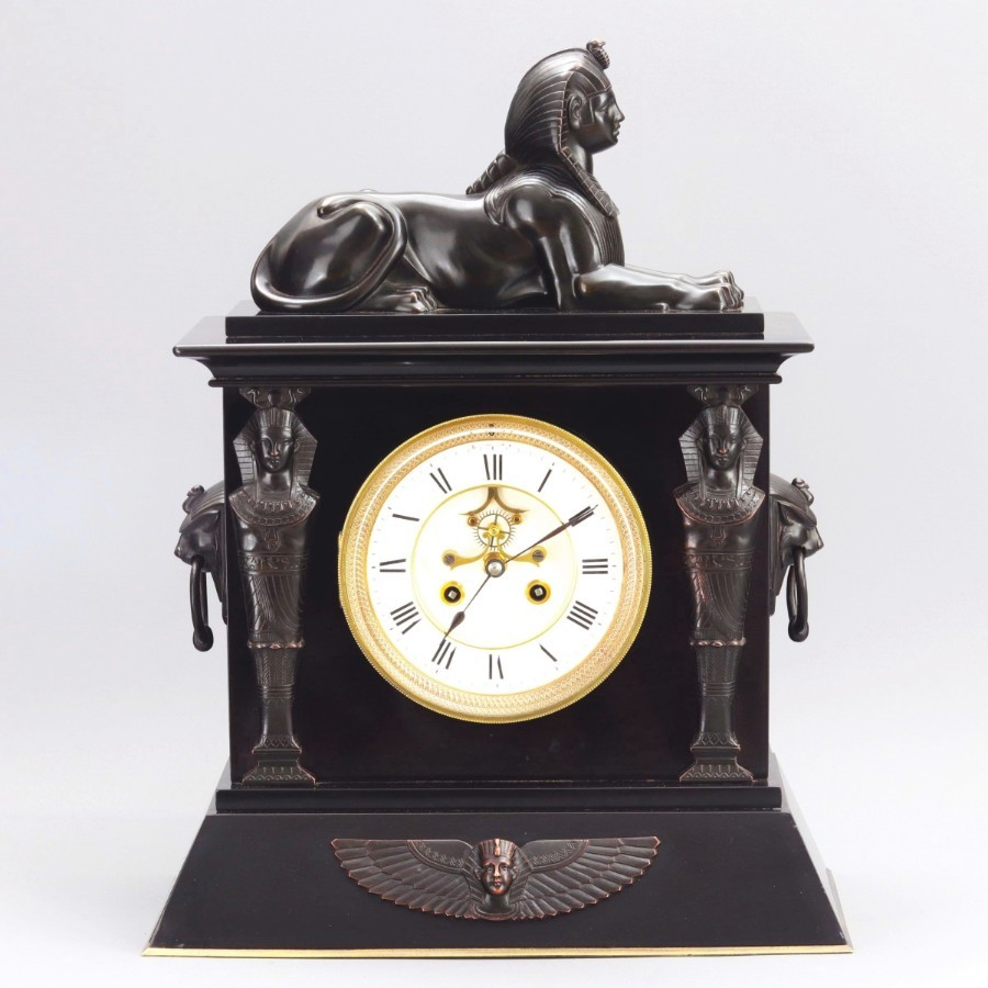 French Black Marble Egyptian Revival Mantle Clock With Bronze Mounts c1875