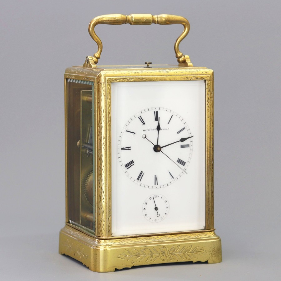 Engraved Repeating Centre-Seconds Carriage Clock by Japy Freres c1860