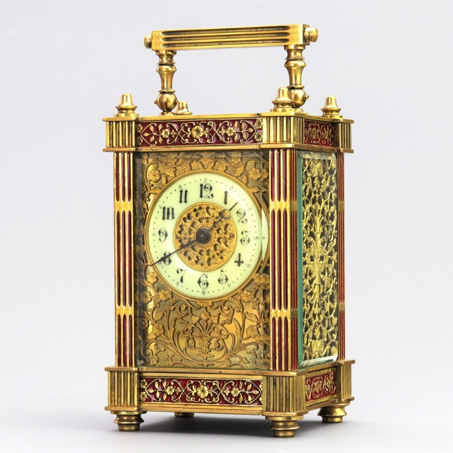 Edwardian Gilt Filigree & Enamel Brass French Carriage Clock c1905