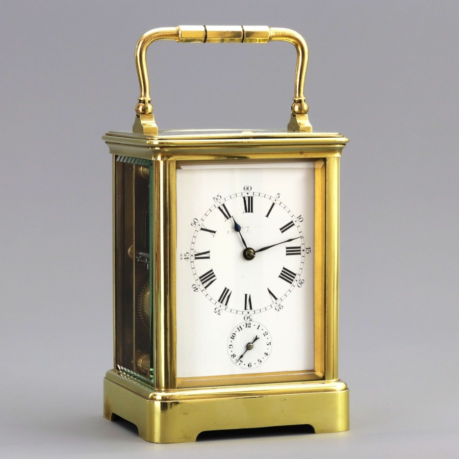 Striking Repeat Carriage Clock With Alarm By Leroy & Cie c1900