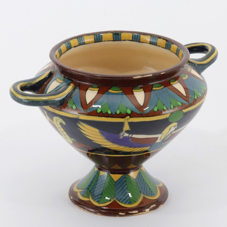 Charles Wileman Foley Intarsio Twin Handled Footed Vase c.1898
