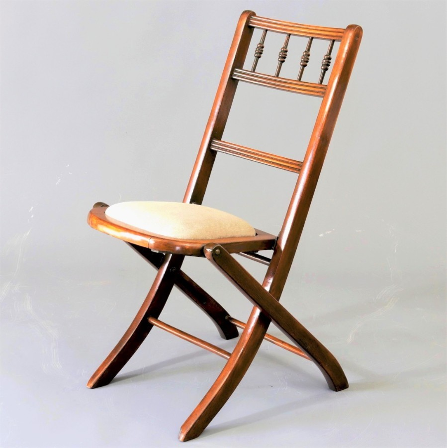 Edwardian Beech Folding Chair c1905