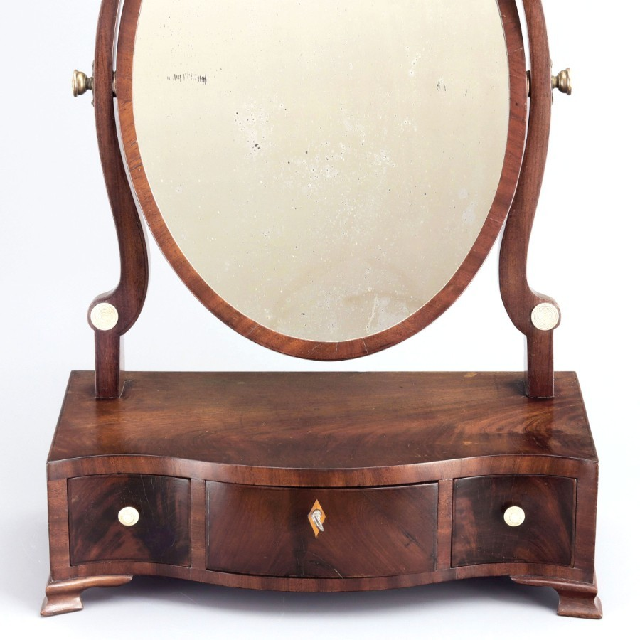 Antique Georgian Curl-Mahogany Serpentine Fronted Oval Dressing Table Mirror c1790
