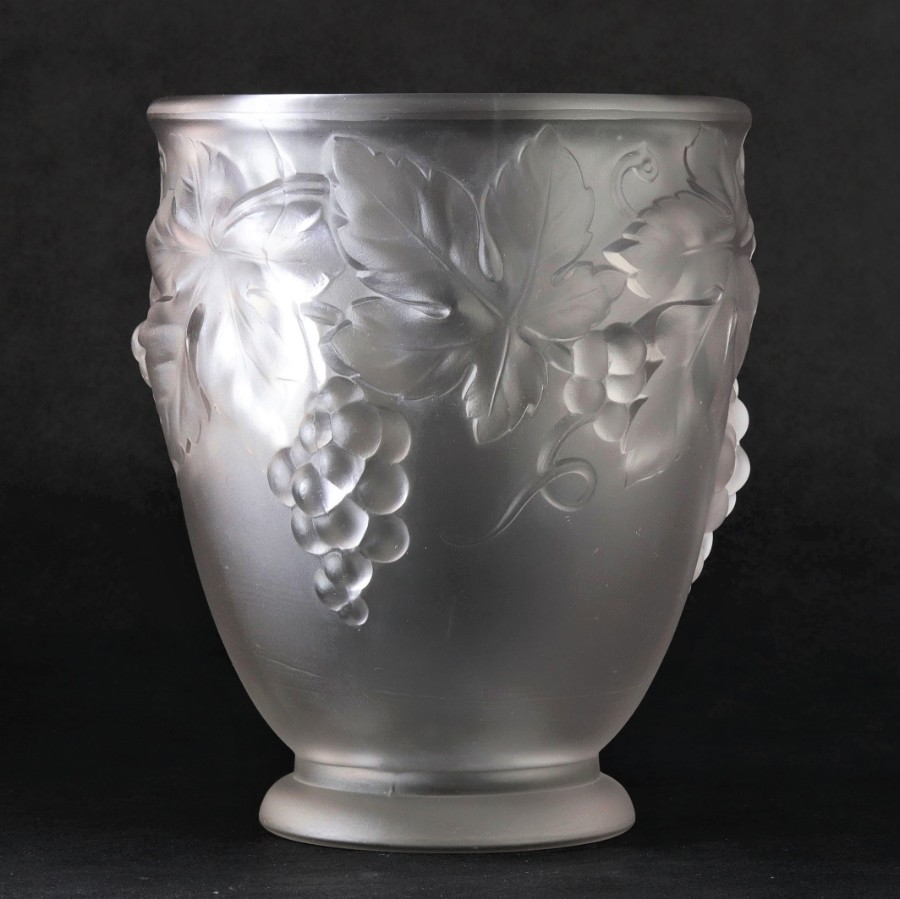 Etling Art Deco Frosted Glass Vase With Fruit and Vine Decoration c1920s