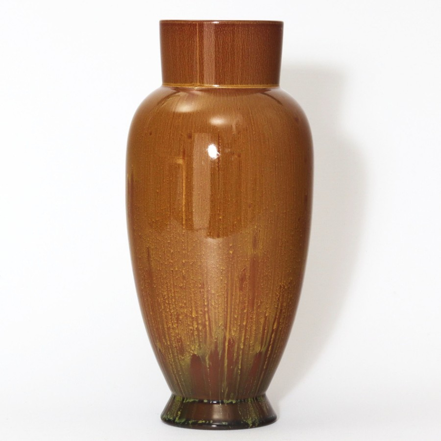 Dresser for Linthorpe Pottery Streak Glazed Ovoid Vase c1880