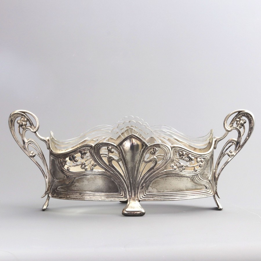 WMF Art Nouveau Oval Centrepiece With Shaped Glass Liner c1915