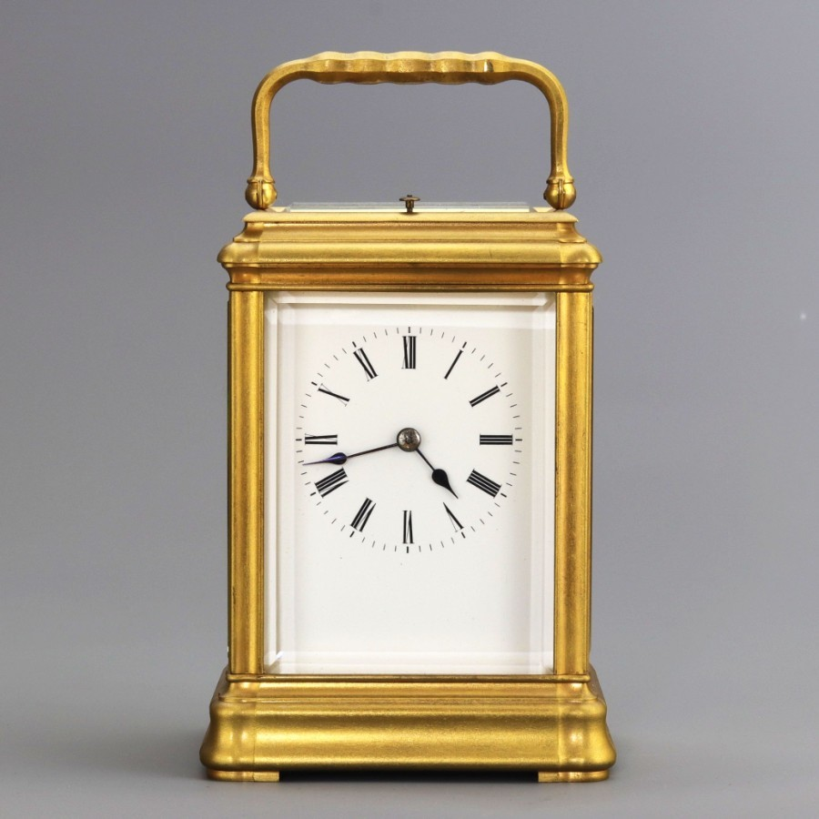 Large Gilt Brass Gorge Cased Repeat Carriage Clock With Travel Case c1885