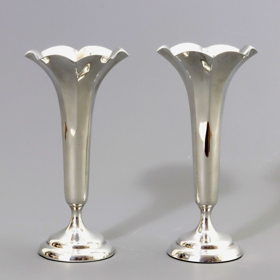 Pair of Silver Trumpet Bud Vases by Horace Woodward London 1906