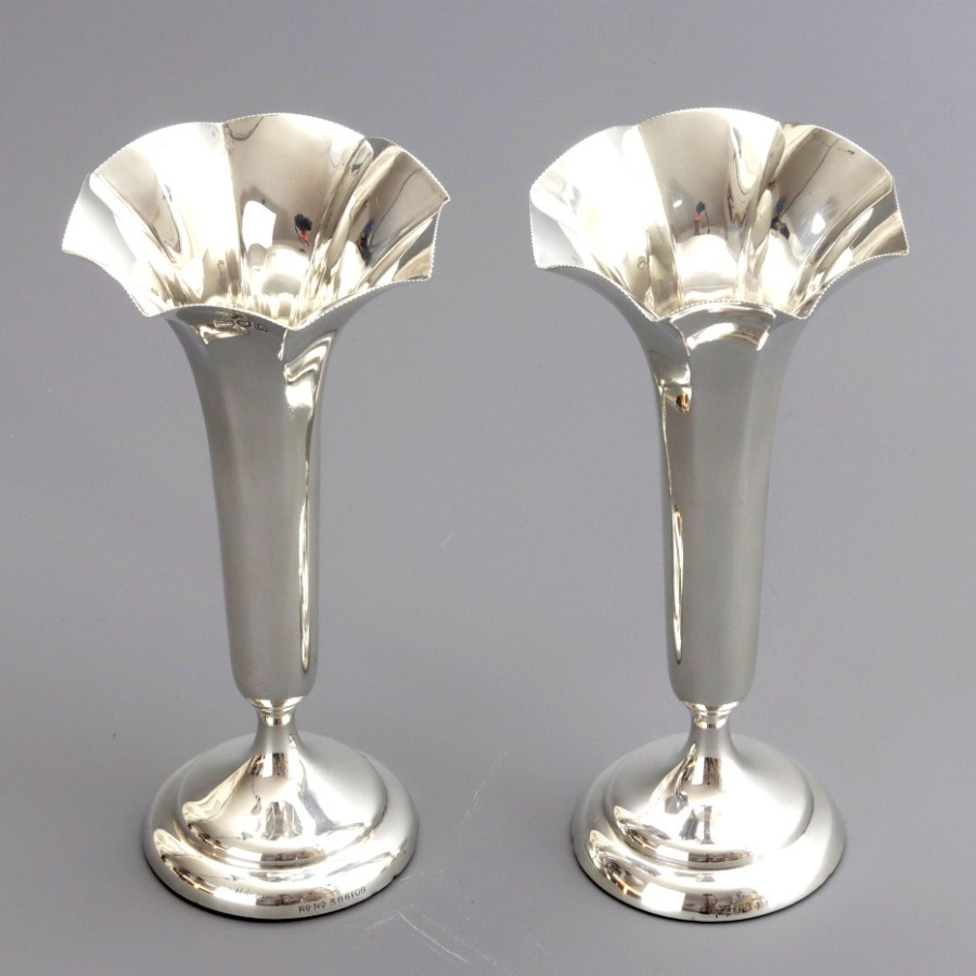 Antique Pair of Silver Trumpet Bud Vases by Horace Woodward London 1906