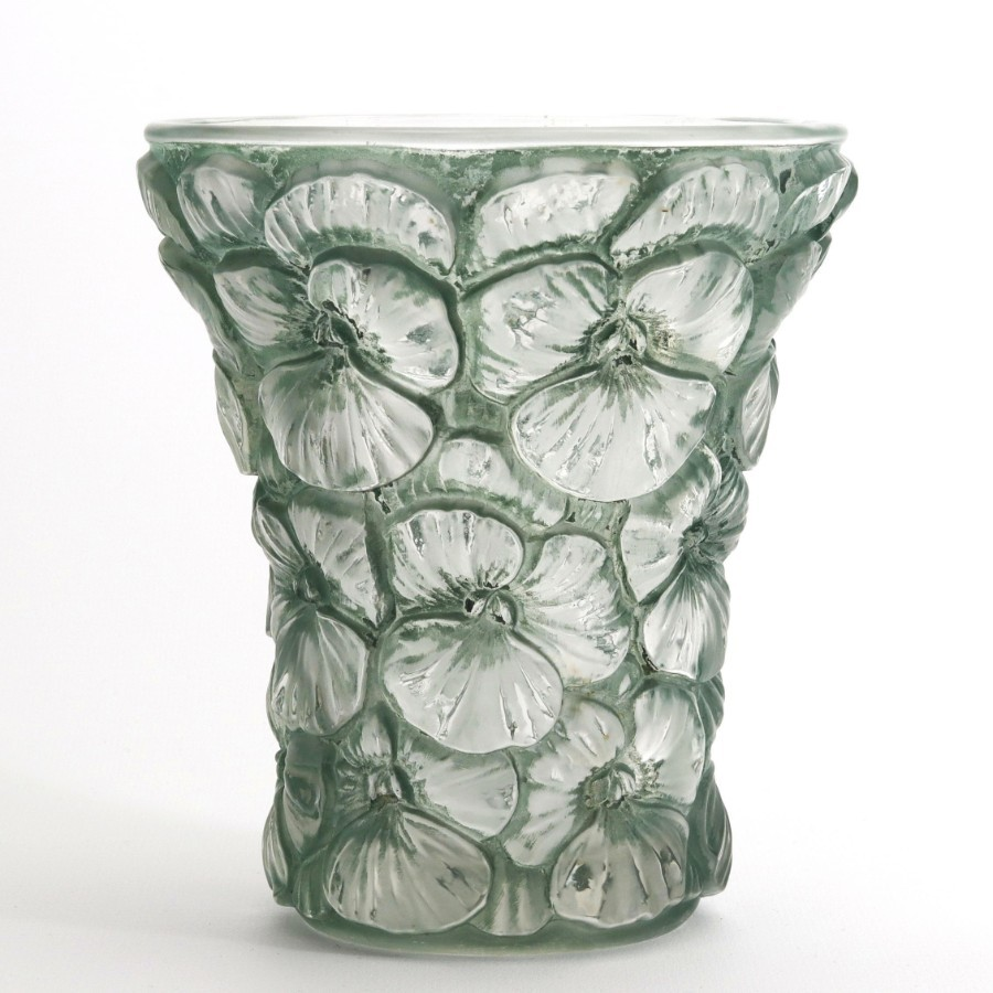 Josef Inwald Barolac Relief Moulded Glass Vase with Blue-Green Patina c1930
