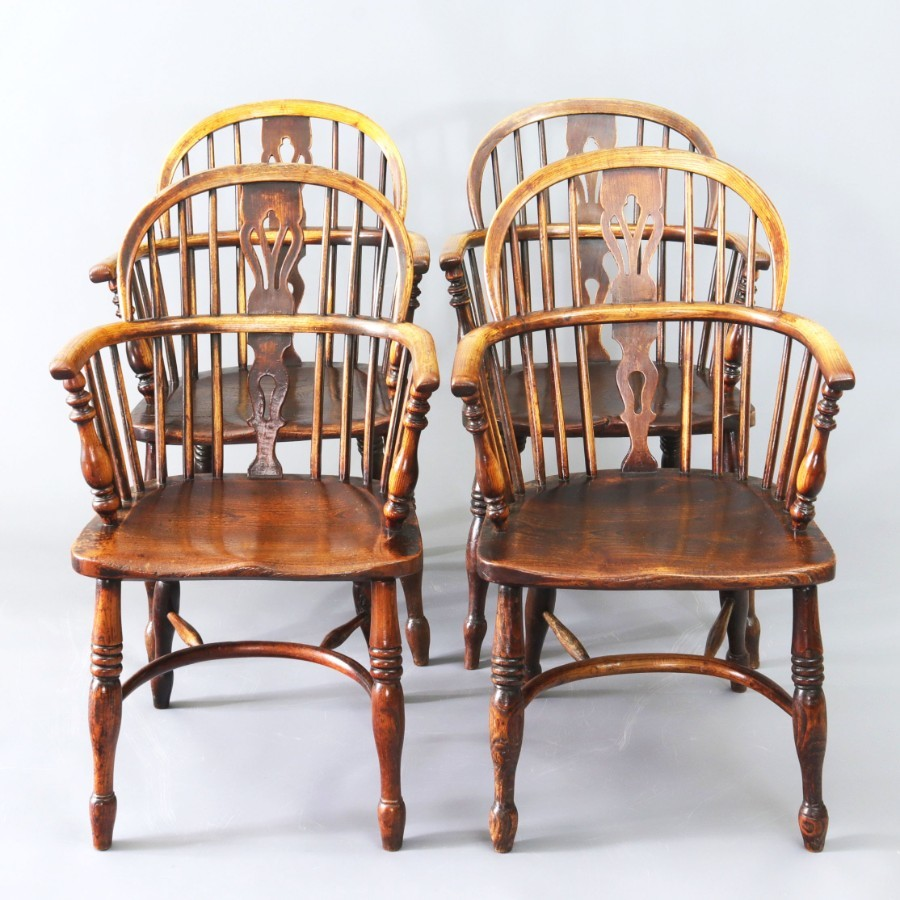 Set of Four 19th Century Ash and Elm Low Back Windsor Chairs c1840
