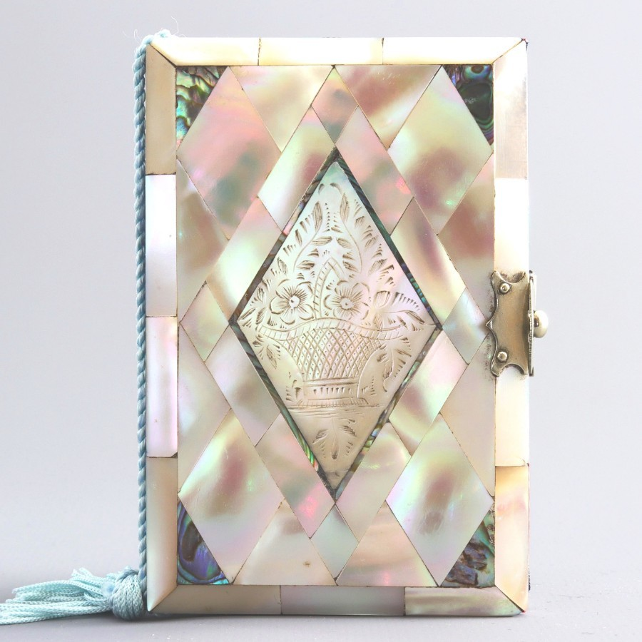 Mother-of-Pearl and Abalone Ladies Pocket Notebook (+ Refills) c1880