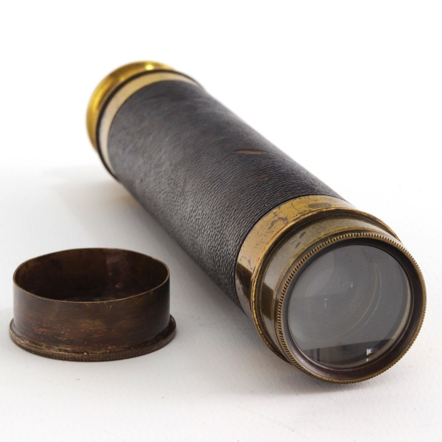 Antique 19th Century Three-Draw Brass and Leather Terrestrial Pocket Telescope
