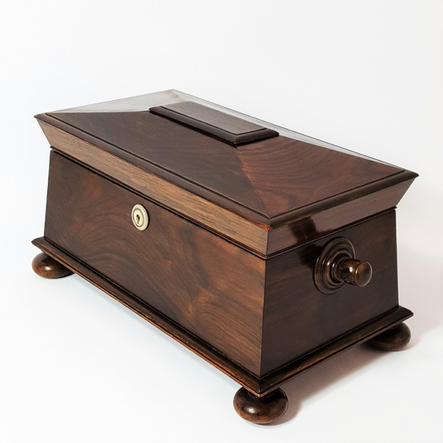 Regency Rosewood Sarcophagus Tea Caddy c1815