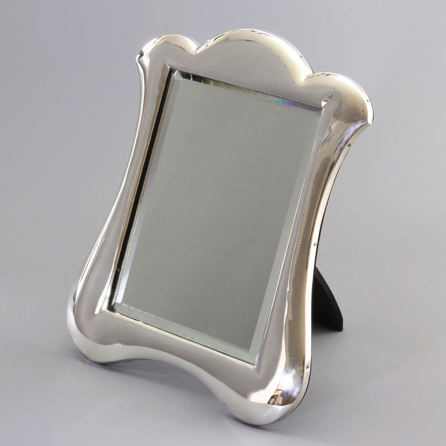 Antique Art Nouveau Silver Dressing Table Mirror by L Emanuel, Birmingham 1908
