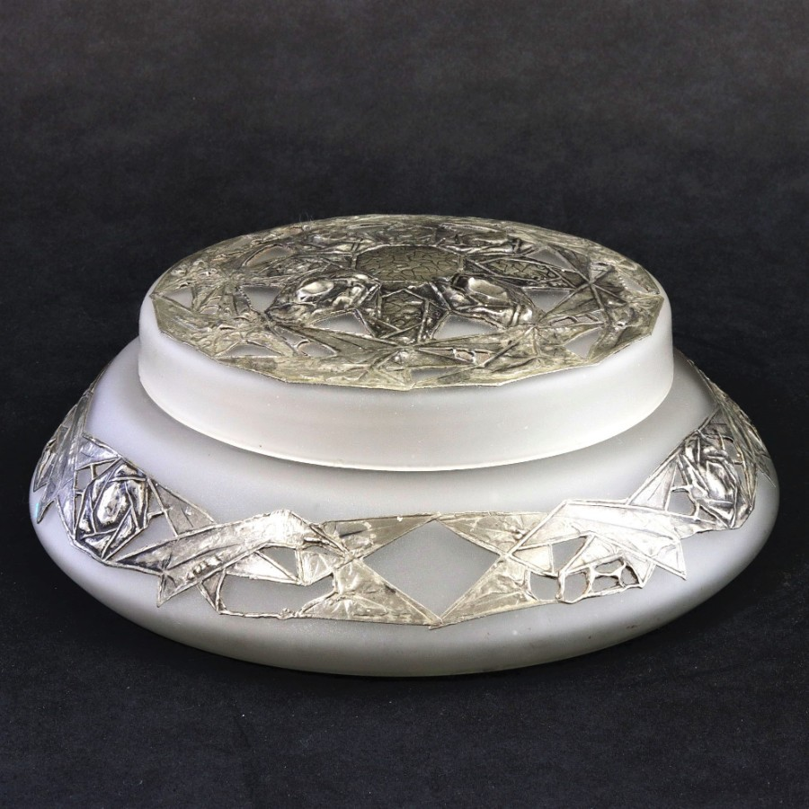 French Art Deco Glass Lidded Bowl with Pewter Overlay c1920