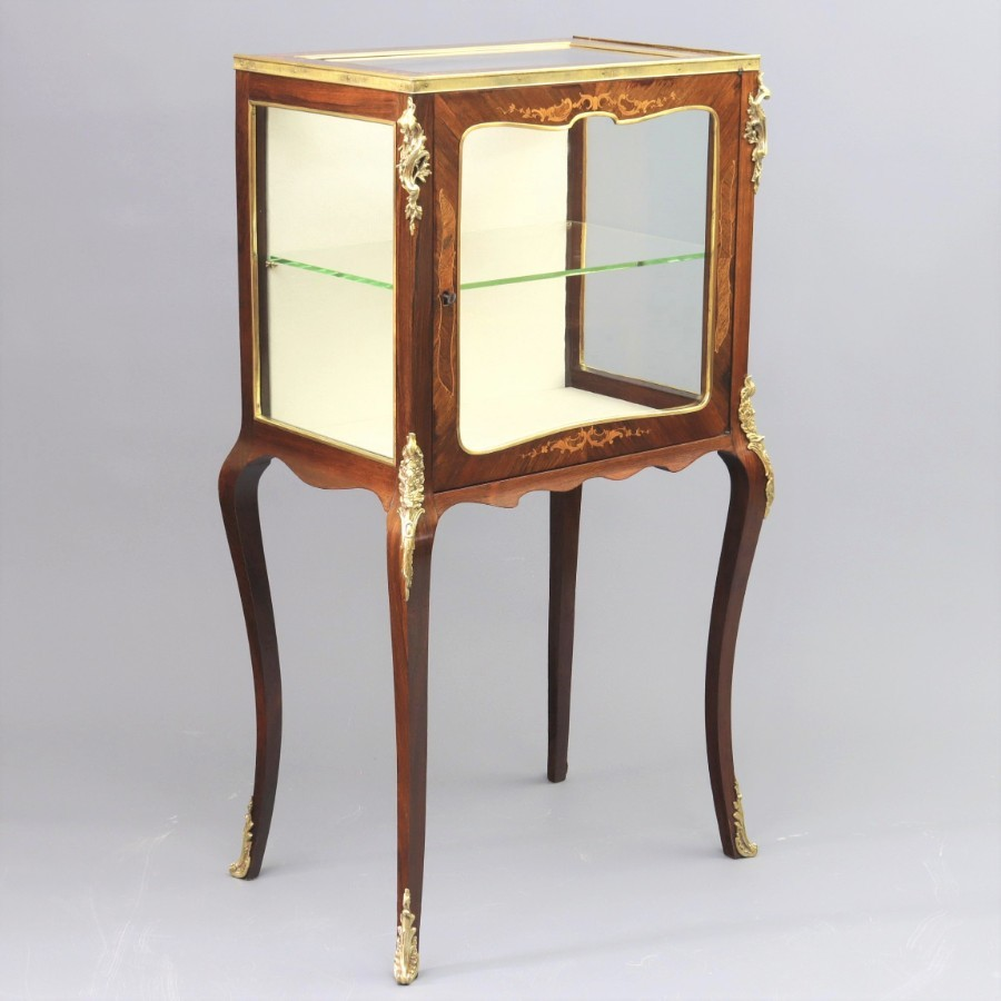 French Inlaid Rosewood Display Cabinet or Vitrine with Ormolu Mounts c1880