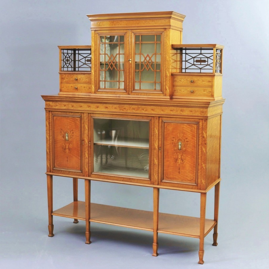 Antique Fine Satinwood and Marquetry Display / Side Cabinet by Gillows of London c1902