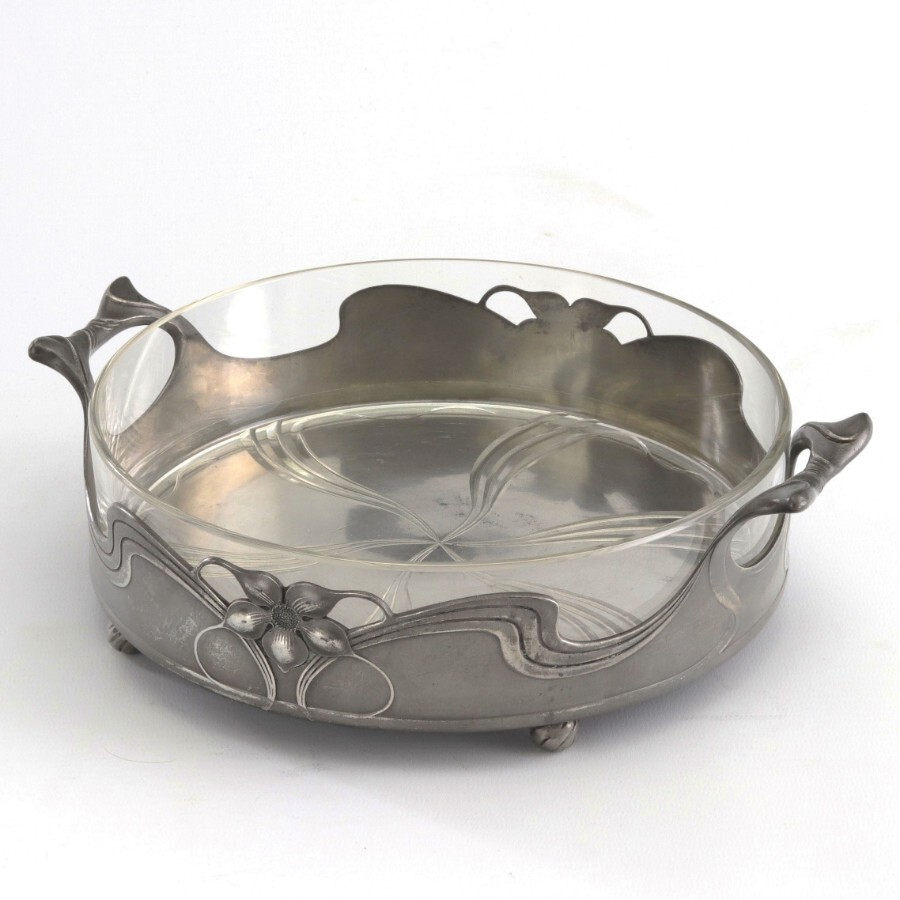 Orivit Art Nouveau Pewter and Cut Glass Lined Centrepiece Bowl c1910