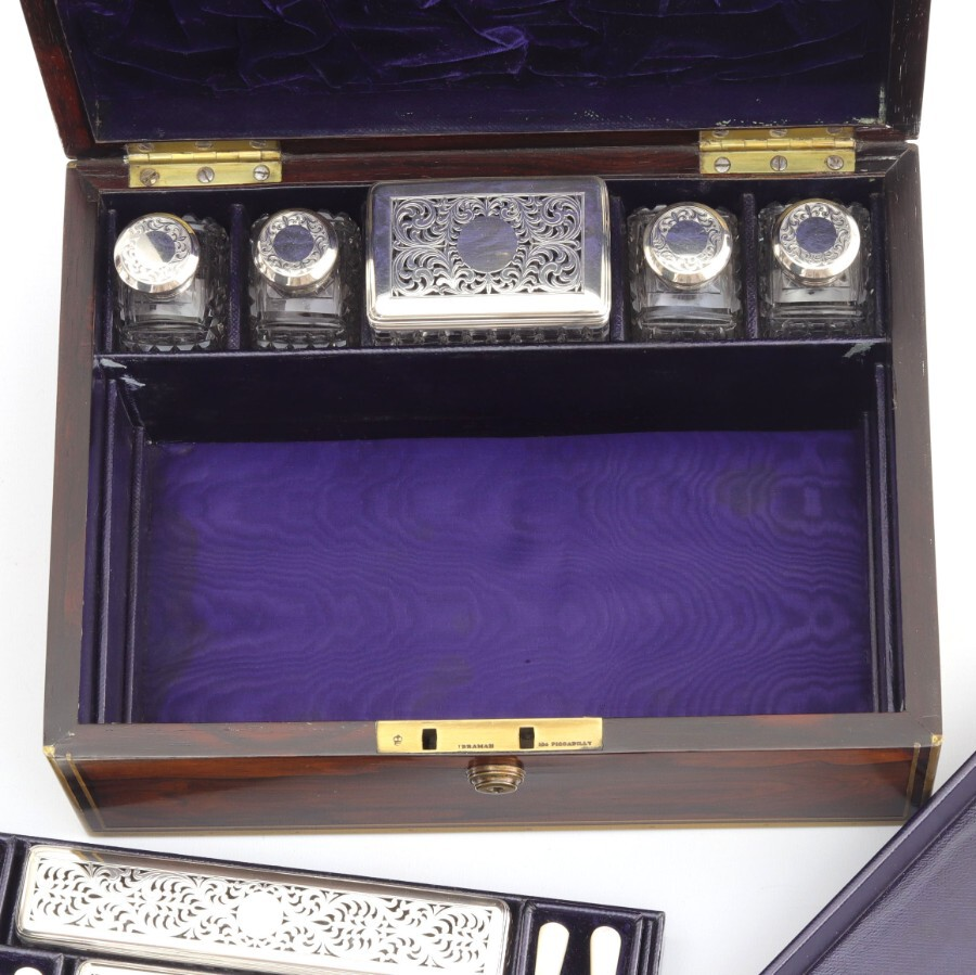 Antique Georgian Brass Bound Rosewood Dressing Box With Silver Top Jars 1825/6