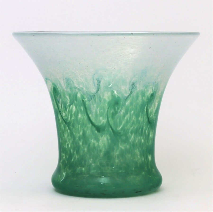 Antique Monart Glass Vase in Sea-Green & Pale Blue with Whirls 1930s