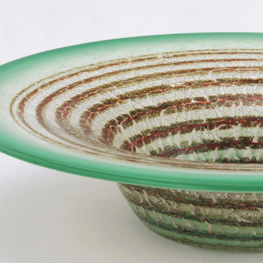 Antique Large WMF Art Deco Ikora Glass Centrepiece Bowl with Concentric Bands c1930s
