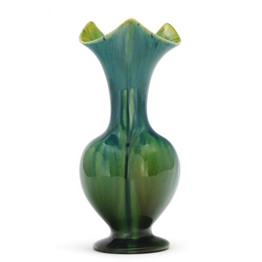 Linthorpe Pottery Streaky Blue-Green Tri-Lobed Vase with Scalloped Rim c1885