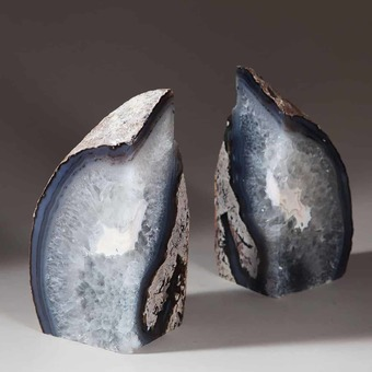 Antique Pair Of Natural Grey Polished Agate Stone Bookends