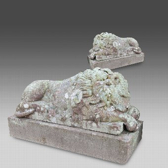 Antique A Rare Pair Of Fine Sandstone Carved Lions