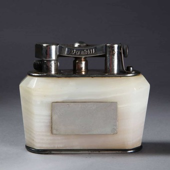 Antique Dunhill Half Giant Silver Plated Onyx Table Lighter
