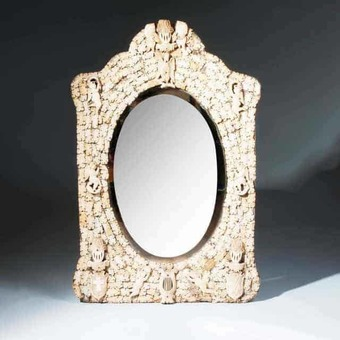 Antique Prisoner of War Carved Bone  Mirror from Dieppe