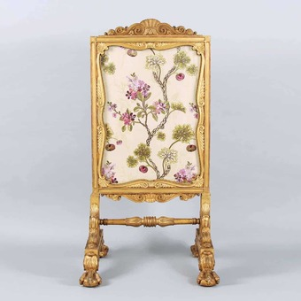 Antique 19Th Century Giltwood Cheval Fire Screen In The Manner Of Thomas Hope