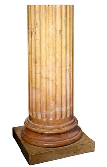 Antique Pair of Fluted Solid Sienna Marble Columns