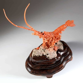 Antique Carved Precious Coral Lobster on Stand