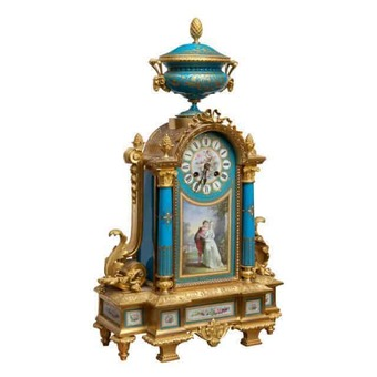Antique A Napoleon III Sevres And Ormolu Mantel Clock