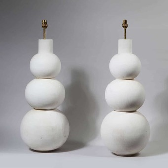 Antique Pair of Tall Triple Gourd Turned Lamps