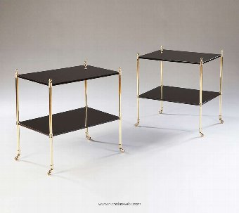 Antique Pair Of Mallett Style Black Lacquer And Polished Brass Two Tier Tables