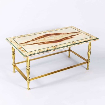 Antique Very Fine & Rare Early 20Th Century Italian Onyx & Verde Antico Cocktail Or Coffee Table, Circa 1935
