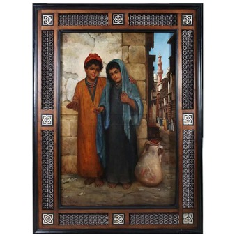 Antique Large Orientalist Painting of Two Children